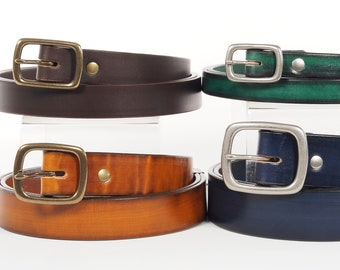 Bridle Leather Belt with Solid Brass Center Bar Buckle - 1 1/2 inch, 1 1/4 inch, 1 inch, 3/4 inch