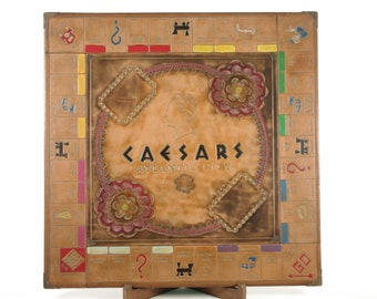 Leather Monopoly Board - Hand Dyed, Tooled & Painted - Caesars Atlantic City