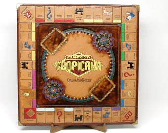 Leather Monopoly Board - Hand Dyed, Tooled & Painted - Tropicana Casino and Resort Atlantic City #01