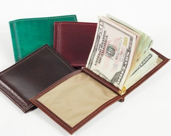Leather Money Clip Wallet, with Spring Loaded Clip