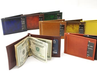 Leather Money Clip Card Wallet