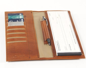 Leather Business Sized Side Tear Checkbook, with Optional Card Slots