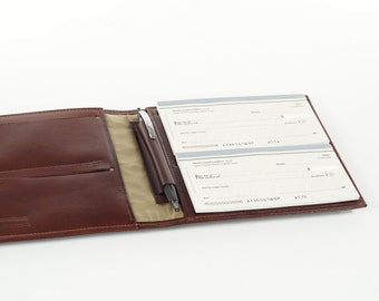 Leather 4-Book Checkbook Cover Organizer