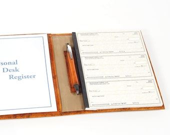Leather Regular Sized 3 to a Page Secretary Deskbook Checkbook Cover