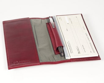 Leather Checkbook Cover, with Inside Pen Slot