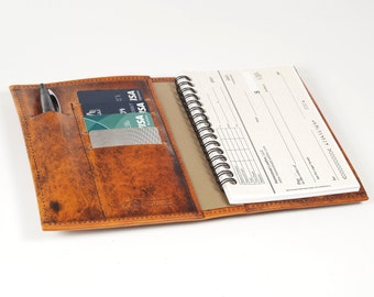 Leather Top Stub Checkbook / Card Wallet, with Pen Slot