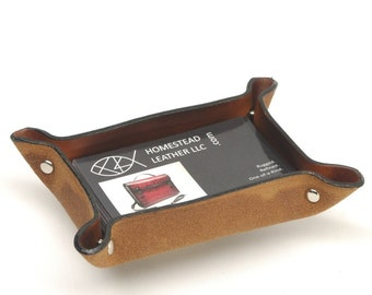 Square Leather Valet Tray SMALL SIZE