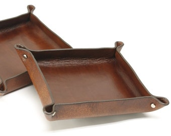 Square Leather Valet Tray REGULAR SIZE