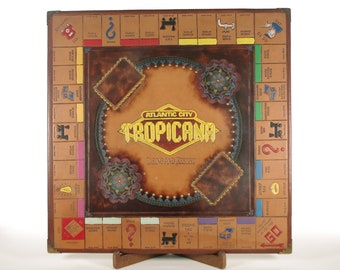 Leather Monopoly Board - Hand Dyed, Tooled & Painted - Tropicana Casino and Resort Atlantic City