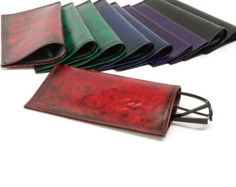 Leather and Silk Slip In Glasses Case LARGE SIZE