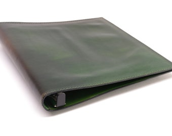 1 Inch Leather 3 Ring Binder - Green - CLEARANCE -