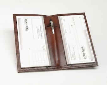 Leather Checkbook Cover with Inside Pen Slot