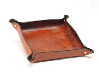 Square Leather Valet Tray