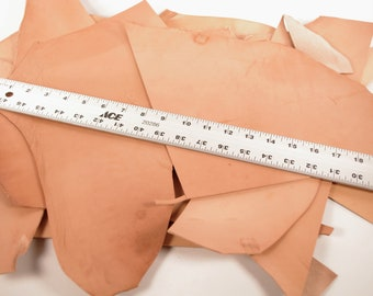 Hermann Oak Natural Veg Tanned Leather Scraps and Remnants - 3-4 oz - Sold by the Pound