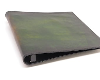 1 Inch Leather 3 Ring Binder Notebook - Green Starburst - CLEARANCE -