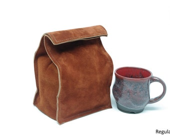Leather Suede Lunch Bag - Large Size