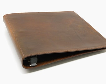 1 Inch Leather 3 Ring Binder - Light Brown - CLEARANCE -