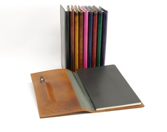 Small Refillable Leather Journal Cover, for Moleskine Volant