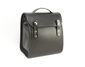 Black Executive Leather Lunch Bag v2 (non-insulated) - CLEARANCE