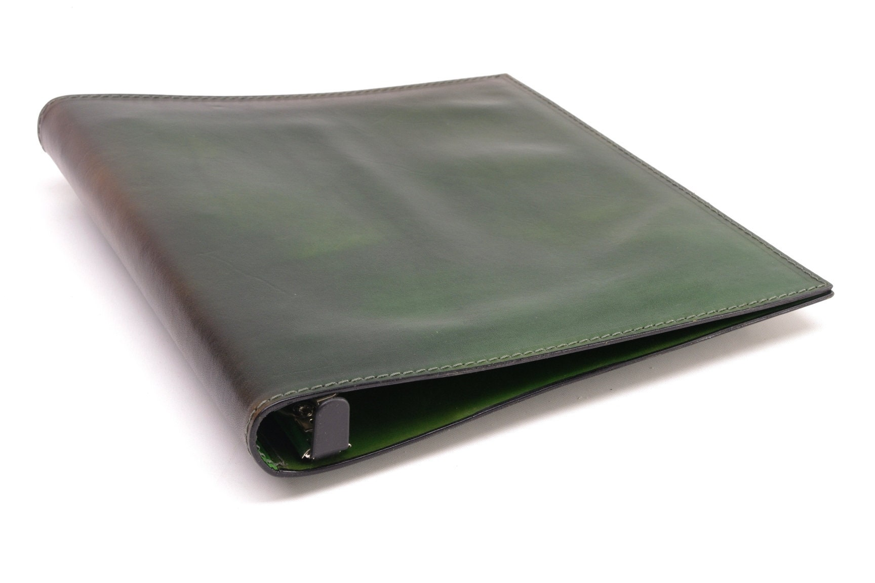 1 inch leather 3 ring binder notebook green clearance