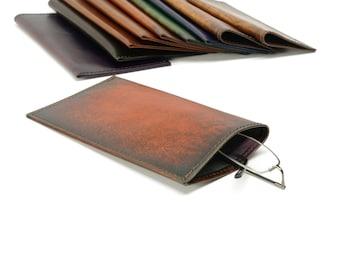 Orange Starburst Leather Slip-in Glasses Case (Large) - CLEARANCE -