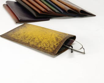 Yellow Starburst Leather Slip-in Glasses Case (Large) - CLEARANCE -