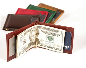 Leather Money Clip Card Wallet, with Inside and Outside Card Pockets