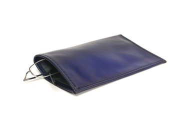 Blue Leather Slip-in Glasses Case (Large) - CLEARANCE -