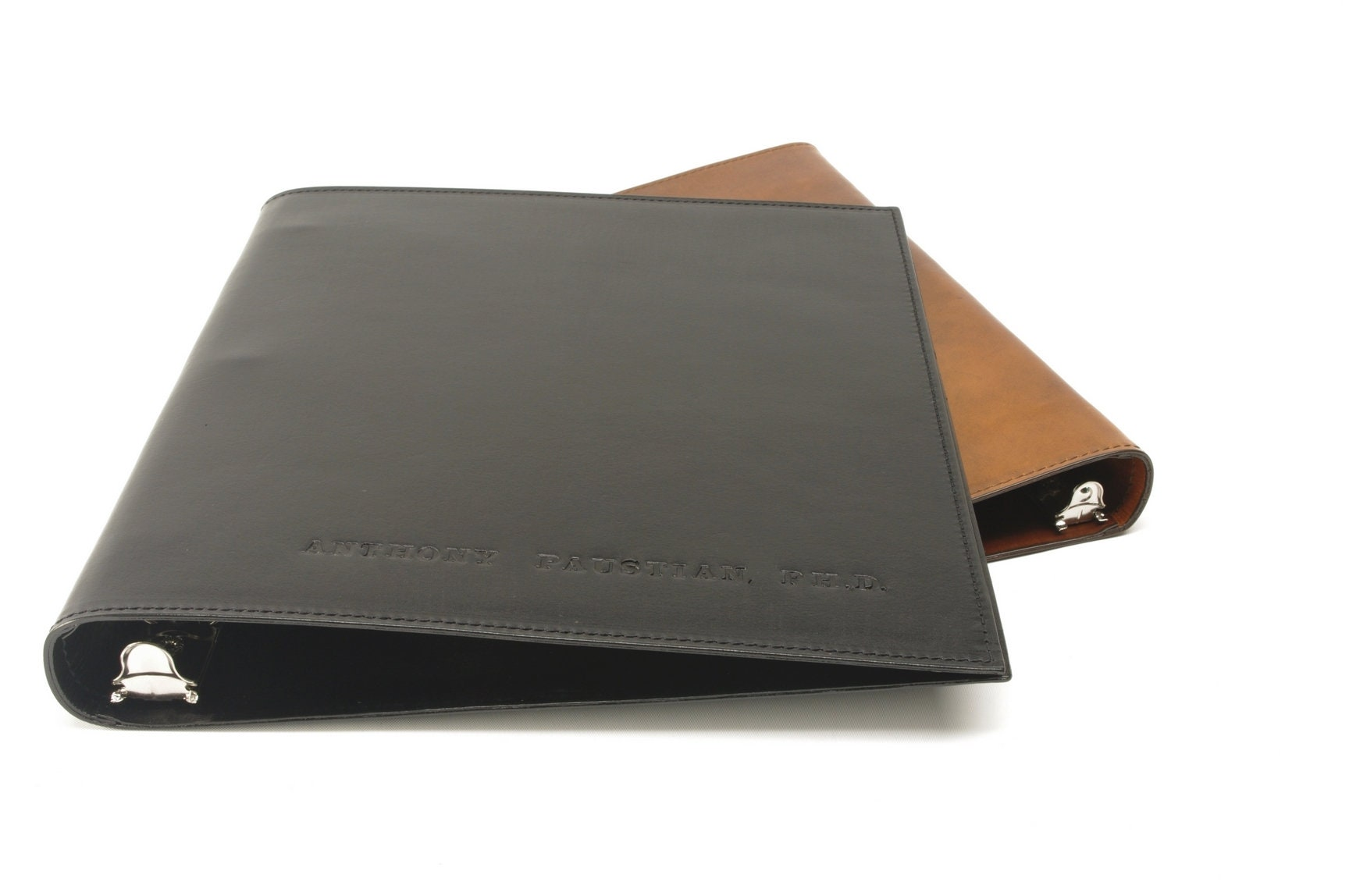 1 inch leather 3 ring binder notebook