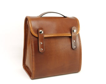 Light Brown Executive Leather Lunch Bag (non-insulated) - CLEARANCE
