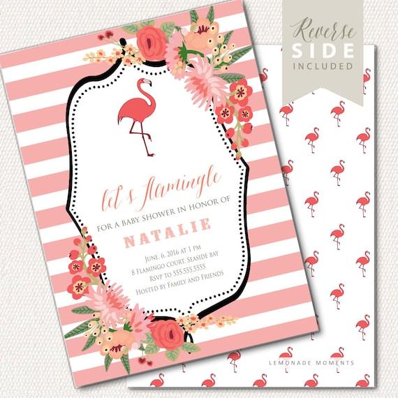 Flamingo Baby-Dusche Einladung Flamingo-Party-Einladung   Etsy