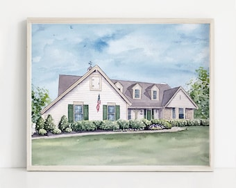 Custom Home Portrait, House Painting, Watercolor House Portrait, Home Illustration, Painting of Home, House Painting from Photo // Gift