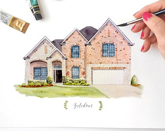 Custom House Portrait, Hand Painted Watercolor Art, Original Painting, House Portrait Watercolor // Housewarming Gift or Realtor Gift