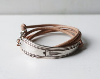 Spoon bracelet | leather bracelet | wrap bracelet | natural leather bracelet