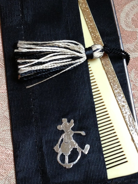 Mickey Mouse Mirror Celluloid Glitter Comb As Is 3
