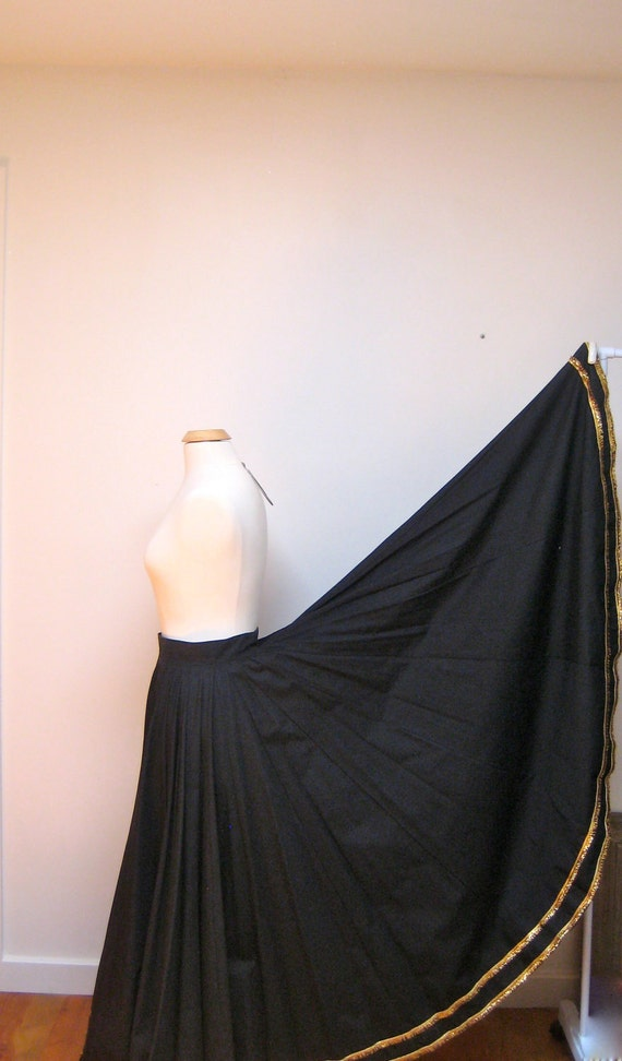 Long Fiesta Skirt Vintage Handmade Santa Fe Black