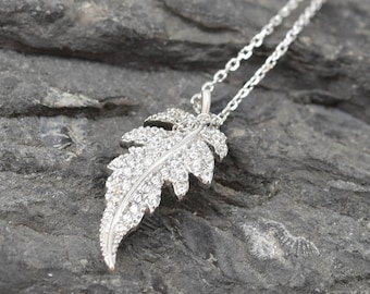 Leaf Necklace, Leaf Pendant, 925 Sterling Silver, Crystal Necklace Pendant, Bridesmaid Gift, Bridesmaid Necklace, Bridesmaid Jewelry