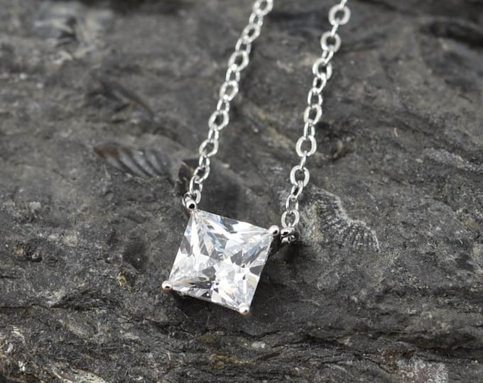 Square Solitaire Necklace, Solitaire Pendant Jewelry, 925 Sterling Silver, Crystal Necklace Pendant, Bridesmaid Gift,Bridesmaid Necklace