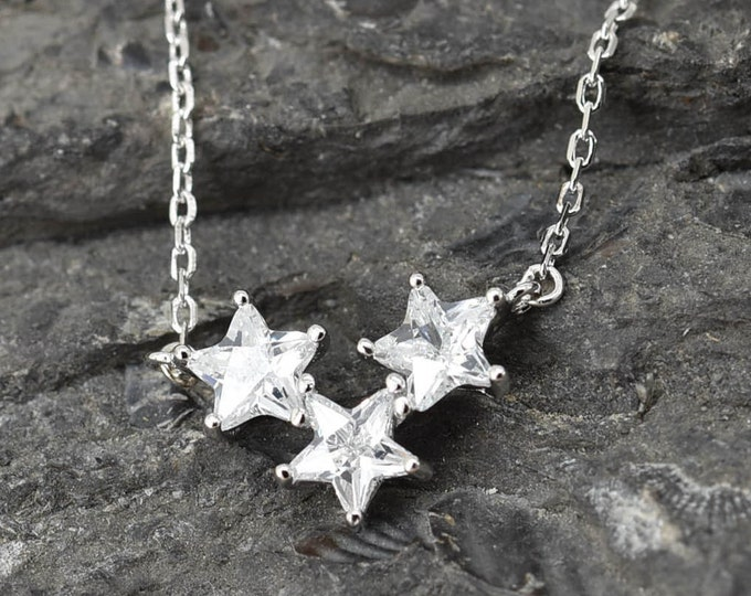Star Necklace, Double Star Pendant, 925 Sterling Silver Crystal Necklace, Crystal Pendant, Bridesmaid Gift, Bridesmaid Necklace,