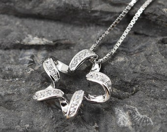 Star Necklace, Star Pendant, Star Jewelry, 925 Sterling Silver, Crystal Necklace Pendant, Bridesmaid Gift,Bridesmaid Necklace