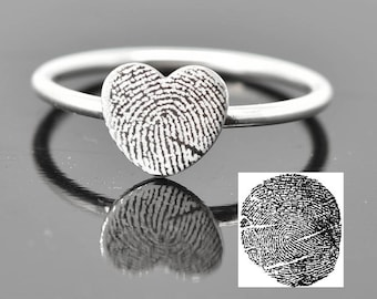 Fingerprint Ring, Fingerprint Jewelry, Stacking Ring, Heart Ring, Engraved Ring, Personalized Jewelry, Bridesmaid Gift, Best Friend