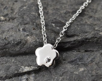 Flower Necklace, Flower Pendant, Flower Jewelry, 925 Sterling Silver, Crystal Necklace Pendant, Bridesmaid Gift, Bridesmaid Necklace