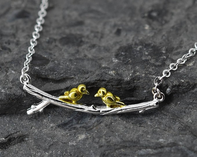 Bird leaf Branches Necklace, Bird Pendant, 925 Sterling Silver Necklace, Crystal Necklace Pendant, Bridesmaid Gift, Bridesmaid Necklace,