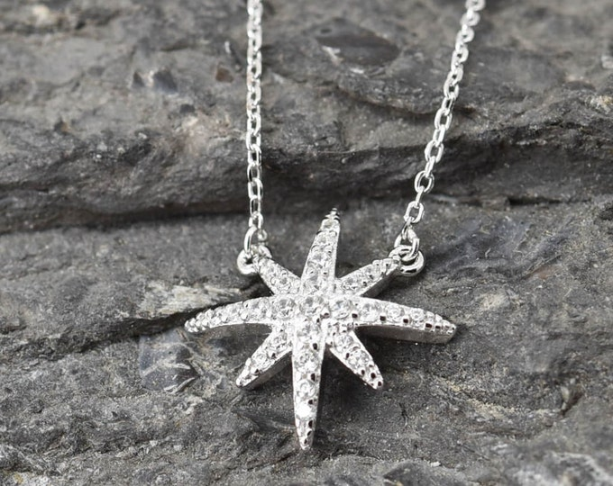 Snowflake Necklace, Snowflake Pendant, Snowflake Jewelry, 925 Sterling Silver, Crystal Necklace Pendant, Bridesmaid Gift,Bridesmaid Necklace