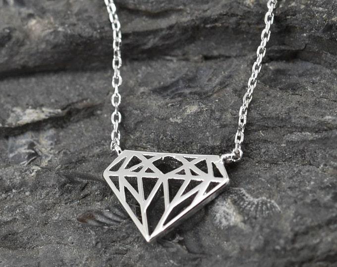 Diamond Necklace, Diamond Pendant, Diamond Jewelry, 925 Sterling Silver, Crystal Necklace Pendant, Bridesmaid Gift,Bridesmaid Necklace
