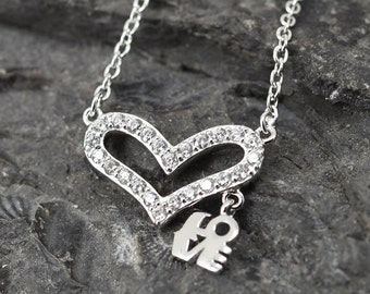 Heart Necklace, Heart Pendant, Love Necklace Pendant, 925 Sterling Silver, Crystal Necklace Pendant, Bridesmaid Gift, Bridesmaid Necklace