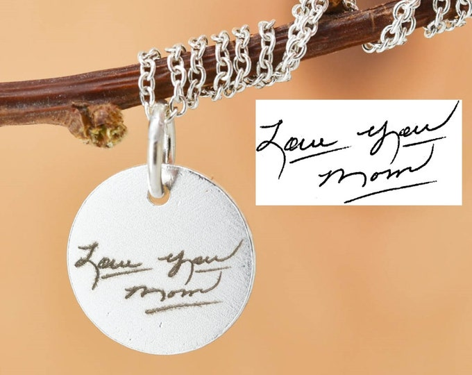 Handwriting Necklace, Handwriting Jewelry, Engraved Necklace, Engraved Jewelry, Personalized Necklace, Bridesmaid Gift, Best Friend, Sister