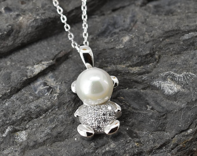 Bear Necklace, Bear Pendant Jewelry, 925 Sterling Silver, Pearl Crystal Necklace Pendant, Bridesmaid Gift, Bridesmaid Necklace