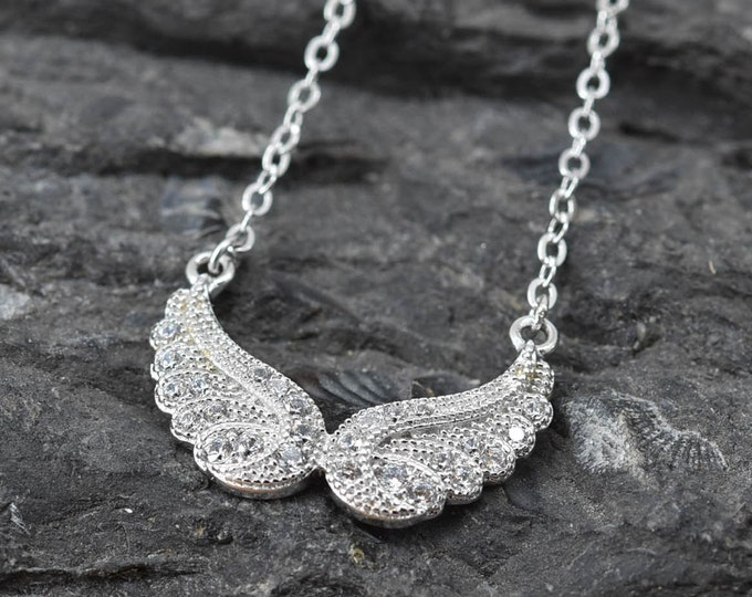 Feather Wing Necklace, Feather Pendant, Feather Jewelry, 925 Sterling Silver, Crystal Necklace Pendant, Bridesmaid Gift,Bridesmaid Necklace