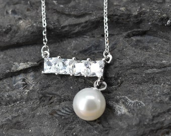 Bar Drop Necklace, Bar Drop Pendant, Pearl Jewelry, 925 Sterling Silver, Crystal Necklace Pendant, Bridesmaid Gift,Bridesmaid Necklace
